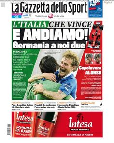 Front page of Gazzetta dello Sport following Italy's defeat of England.