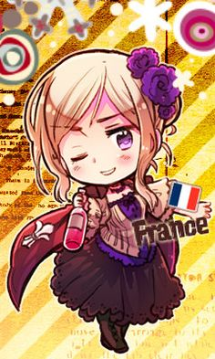 Axis Powers Hetalia-Another Color! (Commonly referred to as 2P designs) 2P! Nyotalia France as of 2011.