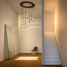 Suspension moderne avec diffuseurs OLED triangulaires