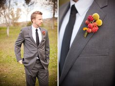 love the dark grey suits with the yellow! and wait is that rasberries/unripe blackberries?? cool!