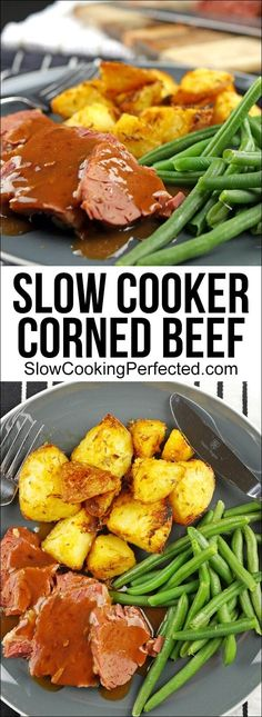 Easy Slow Cooker Corned Beef - Slow Cooking Perfected This slow cooker corned beef is a fantastic, easy dish that is both affordable and incredibly tasty. It goes well with some gravy and roasted vegetables. Slow Cooker Corned Beef, Corned Beef Recipes, Slow Cooker Recipes, Meat Recipes, Crockpot Recipes, Irish Recipes, Curry Recipes, Chicken Recipes, Recipies