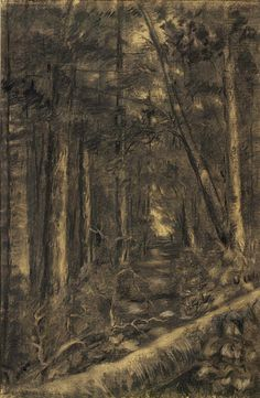 """""""Landscape with Path through Forest,"""" Edward Mitchell Bannister, after 1870, chalk and charcoal on paper mounted on paperboard, 17 1/4 x 11 1/4"""", Smithsonian American Art Museum."""