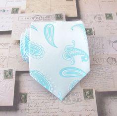 Mens Tie Light Blue Paisley Silk Necktie by TieObsessed on Etsy, $19.95