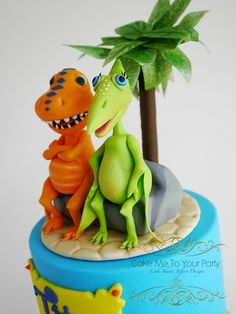 Dinosaur Train Cake - Fondant Buddy and Don. www.facebook.com/cakemetoyourparty