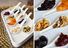 Dried fruits on little spoons. One of Hotel Westin Playa Bonita's healthy amenities.