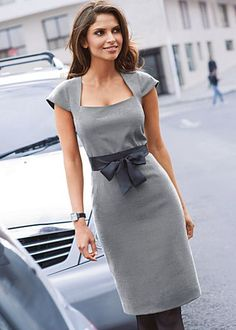 What a great work dress! Gray simple dress. Office apparel women fashion @roressclothes closet ideas outfit clothing ladies