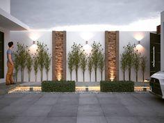 Fence Gate Design, Tuscan Garden, Exterior Wall Design, Modern Backyard Design, Backyard Landscaping Designs, Fence Design, House Outside Design, Interior Garden, Lawn Design