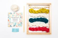 Learn the basics of weaving wall art with the Wall Art Weaving Loom Kit. Follow along with the instruction booklet and learn how to create texture within your weavings. This kit has been designed for the absolute beginner in mind. No previous weaving experience necessary. Supplies include: *Handmade loom (Choose a color) *Warp thread *5 mini skeins of yarn *Wool roving *2 tapestry needles *Hanging dowel *Instruction booklet Loom measures 10 x 13 (25cm x 33cm). By purchasing this kit you a...