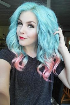 Wonderful pastel blue ombre hair color to pink~ curly medium hairstyle