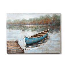 """Cadre peinture à l'huile sur bois """"Bateau bleu"""". Dimensions: L 48.03 X H 35.83"""