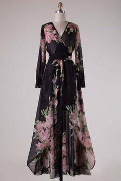 Caroline Floral Wrap Maxi Dress in Navy | Three Bird Nest for Boho Clothing & Bohemian Accessories