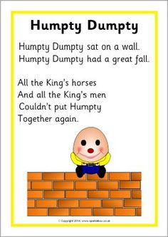 Here is the list of best nursery rhymes for kids and babies, including Humpty Dumpty, the best nursery rhyme. Nursery Rhyme Crafts, Nursery Rhymes Lyrics, Nursery Rhymes Preschool, Nursery Rhyme Theme, Humpty Dumpty Nursery Rhyme, Nursery Rhymes For Toddlers, Songs For Toddlers, Rhyming Preschool, Rhyming Activities