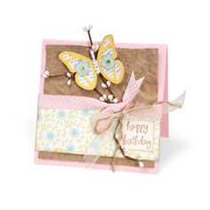 Happy Birthday Butterfly Card #3 - Cardstock, Grocery Bag, Branch, Ink, Jewels, Newspaper, Ribbon, Stamp, Twine