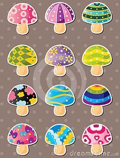 Mushroom stickers,cartoon vector illustration