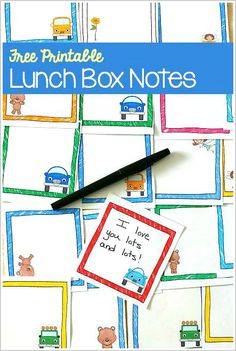 Free Printable Lunch Box Notes- Perfect for back to school! Includes teddy bear notes, car themed notes, and fairy themed notes! ~ BuggyandBuddy.com
