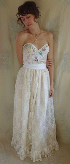 Meadow Bustier Wedding Gown... women dress boho whimsical woodland ...