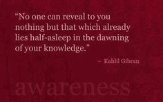 no one can reveal to you nothing but that which already lies half-asleep in the sawning of your knowledge- Kahlil Gibran