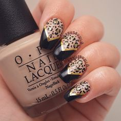 Instagram media by naailsbyjulia - These are inspired by @allnailseverything, I loved her design so much I had to straight up copy it.  I used @opi_products @opisverige 'do you take lei away', 'all sparkly & gold' and 'black onyx'  #nails#by#me#nailart#leopard#animal#print#gold#glitter#cool#love#beauty#fashion#style#girl#girly#manicure#nailpolish#opi#staypolished#instanail#nailswag#craftyfingers#nails2inspire#nailpromote#hairandnailfashion#nailitdaily#ANEinspired