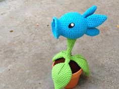 Snow Pea Shooting Plant PDF Amigurumi Crochet by GeekChicurumi