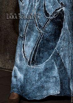 Купить Тонкое валяное платье Ангел - серый, рисунок, Мокрое валяние, войлок, валяная одежда