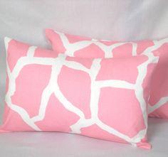 Pair of Giraffe Lumbar Pillows - $25.00 #BedThrowPillow #SJDesign