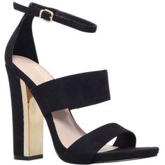 Carvela Gossip High Block Heeled Sandals, Black ($49) ❤ liked on Polyvore featuring shoes, sandals, heels, high heels, обувь, black strap sandals, strappy heeled sandals, heeled sandals, black sandals and black block-heel sandals