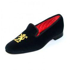 2a0de56f7e6 Mens Embroidered Velvet Albert Slippers Velvet Slippers