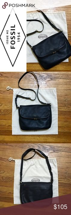 "Gorgeous Black Leather Fossil Crossbody EUC, this bag has been well loved and well taken care of. Full sized Preston from Fossil purchased from Macy's 3 years ago, approx 12""x10"", black pebbled leather. Zippers have some scratches and tarnish spots. But overall this bag is in awesome condition and will come with the dust bag. Fossil Bags Crossbody Bags"