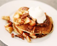 Low Carb Apple Cinnamon Pancakes made with almond and flaxseed meal