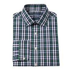 Men's Croft & Barrow® Slim-Fit Easy-Care Spread-Collar Dress Shirt, Size: 16.5-32/33, Green