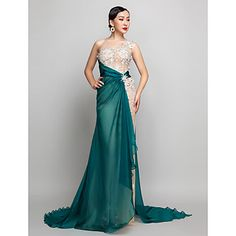 Military+Ball+/+Formal+Evening+Dress+-+Champagne+Plus+Sizes+/+Petite+A-line+One+Shoulder+Sweep/Brush+Train+Chiffon+–+USD+$+119.99
