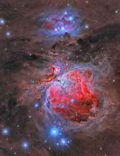 Mosaik of Orion Nebula M42 and NGC1977 Nebula in constellation Orion