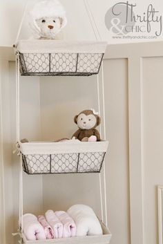Diy Hanging Storage Baskets All You Need Are And Some Rope Baby Nurserystorage For Room Bins Hanging Basket Storage, Diy Hanging, Storage Baskets, Wire Baskets, Baby Room Storage, Diy Nursery Storage Ideas, Nursery Ideas, Small Nursery Organization, Diy Nursery Decor