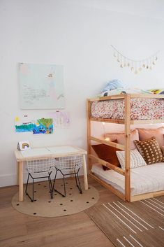 Earthy Boho Girls Room – Project Nursery boho kid room decor, shared kid bedroom decor with bunk beds and small desk in kid bedroom design Kids Bedroom Designs, Kids Room Design, Girls Bedroom, Bedroom Decor, Kid Bedrooms, Shared Bedroom Kids, Shared Rooms, Bedroom Small, Girls Room Desk