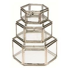 Lisbeth Dahl Silver Glass Hexagonal Boxes, Set of 3 by Lisbeth Dahl. $10.99. Measures 2.76 inches x 34.65 inches x 1.18 inches. A beautiful accessory for any bathroom or bedroom.. Glass and steel material. Lisbeth Dahl Silver Glass Hexagonal Set of Three Boxes. This bathroom accessory helps bring that sophisticated and cozy glamour feeling into your bathroom in all its elegance, comfort and beauty. Made of a glass and steel material. Measures 2.76-inch by 34.65-inch by 1.18-inch