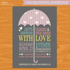 Printable Baby Shower Invitation - Showered with Love - Umbrella and Hearts - Typography Invitation. $15.00, via Etsy.