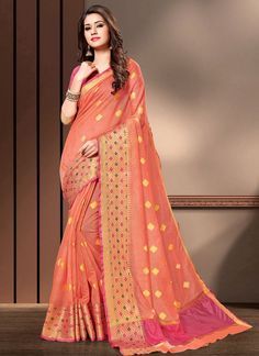 Peach Cotton Silk Weaving Classic Saree
