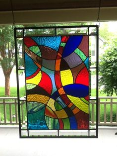 """I Dream in Color"" Stained Glass Window Panel"