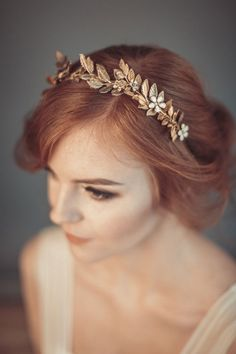 Gold leaf tiara Laurel leaf flower crown от floraljewellery