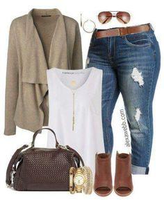 Plus Size Fall Jeans Outfit - Alexa Webb - Mode Plus Size Fashion Blog, Curvy Girl Fashion, Plus Size Fashion For Women, Plus Size Women, Autumn Fashion Plus Size, Fashion Women, Fashion 2017, Fashion Outfits, Cheap Fashion