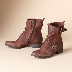 VINTAGE MILITAIRE ANKLE BOOTS--Weathered finish and buckles. Short nubuck wrap and fold ankle boot with double buckled straps. Inside zippers and rubber soles. Imported. Whole and half sizes 6 to 10, 11.