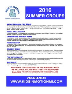 Full schedule for Kids in Motion Summer Groups!