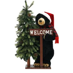 "33"" Tall Holiday Time Black Bear Christmas Decoration"