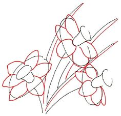 When drawing a daffodil, draw oval petals and the second side of each leaf.