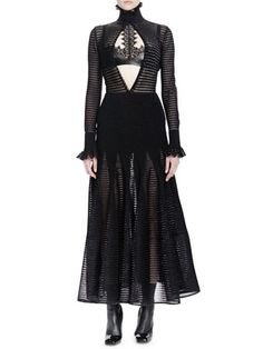Long-Sleeve Ladder-Stitch Dress & Halter-Neckline Bra Top w/Lace by Alexander McQueen at Bergdorf Goodman.