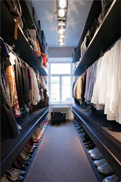 long narrow walk in wardrobe designs with hanging rails and open shelving and shoes storage : Home Walk In Wardrobe Designs. home walk in wardrobe,walk in wardrobe designs,walk in wardrobe ideas,walk in wardrobe interiors,wardrobe walk in design Master Closet, Closet Bedroom, Closet Space, Hallway Closet, Huge Closet, Bedroom Small, Master Bedrooms, Diy Bedroom, Bedroom Ideas Master For Couples