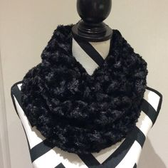 Black Faux Fur Minky Infinity Scarf by SissyandTodo on Etsy