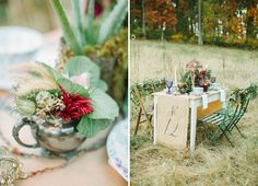 Fall Bohemian Wedding Inspiration with unique table runner/table number