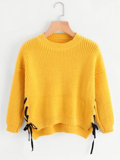 Shop Eyelet Lace Up Side Dip Hem Sweater online. SheIn offers Eyelet Lace Up Side Dip Hem Sweater & more to fit your fashionable needs. Loose Sweater, Sweater And Shorts, Cropped Sweater, Pullover Sweaters, Mode Kpop, Yellow Sweater, Eyelet Lace, Looks Style, Sweater Weather