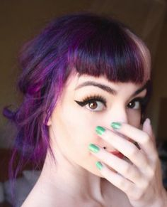 Purple hair + bangs